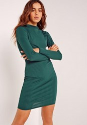 Missguided Long Sleeve Grown On Neck Mini Dress Green