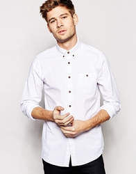 Asos Oxford Shirt In Long Sleeve With Lightweight Nep White