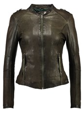 Tigha Dakota Leather Jacket Army Green Dark Green
