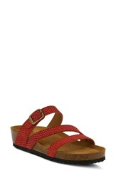 Spring Step Flossie Slide Sandal Red Leather