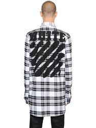 Off White Spray Stripes Cotton Flannel Shirt