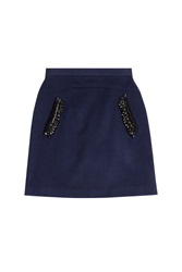 Steffen Schraut 5Th Avenue Embellished Wool Skirt Blue