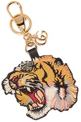 Gucci Embroidered Leather Keychain Yellow