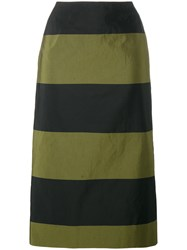 Dries Van Noten Scranton Long Stripe Skirt Black