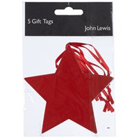 John Lewis Star Gift Tag Pack Of 5 Red