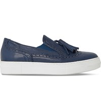 Dune Ebby Leather Brogue Loafers Navy Leather