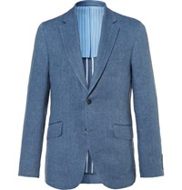 Hackett Blue Delave Slim Fit Herringbone Linen Blazer Blue
