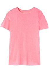 The Elder Statesman Distressed Cashmere And Silk Blend T Shirt Baby Pink