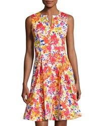Chetta B Split Neck Floral Print Fit And Flare Dress Multi Pattern