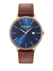Kenneth Cole Classic Leather Strap Watch Brown