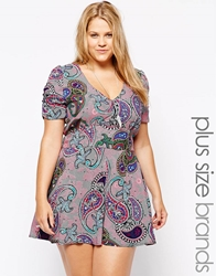 Alice And You Pink Paisley Print Playsuit