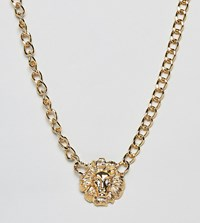 Glamorous Lion Chain Chunky Gold Necklace