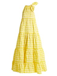 Marques Almeida Halterneck Gathered Gingham Maxi Dress Yellow
