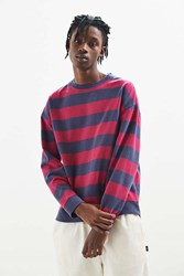 Urban Outfitters Uo Washed Stripe Crew Neck Sweatshirt Red