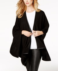 Charter Club Cashmere Faux Leather Trim Poncho Cardigan Created For Macy's Classic Black