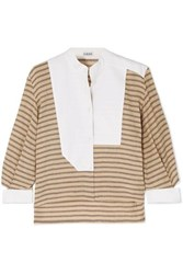 Loewe Cutout Poplin Paneled Striped Cotton Blend Shirt Beige