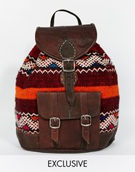 Reclaimed Vintage Kilim Backpack With Leather Trims Red