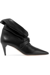 Miu Miu Bow Embellished Leather Ankle Boots Black