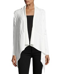 Stella Carakasi Textured Knit Open Front Cardigan Soft White
