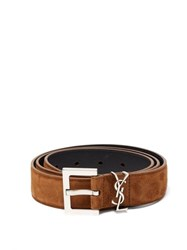 Saint Laurent Logo Plaque Suede Belt Tan