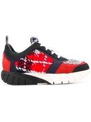 Thom Browne Black Tweed Raised Running Shoe Red