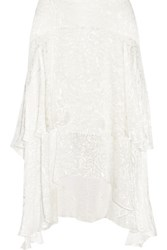 Preen By Thornton Bregazzi Tiered Devore Satin Midi Skirt White
