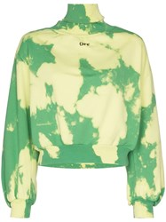 Off White High Neck Cloud Print Sweater Green