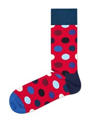 Happy Socks Dotted Crew Navy Red