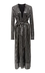 Sally Lapointe Belted Sequin Dress Stripe