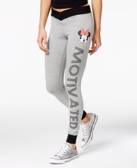 Disney Juniors' Minnie Mouse Motivated Graphic Leggings Heather Grey Black