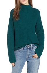 Treasure And Bond Ribbed Funnel Neck Sweater Green Bug