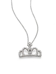 Roberto Coin Tiny Treasures Diamond And 18K White Gold Crown Pendant Necklace No Color