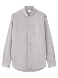 Jigsaw Fine Stripe Round Collar Shirt Grey