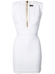 Balmain Deep V Neck Mini Dress Women Polyamide Spandex Elastane 36 White