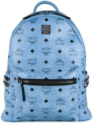 Mcm Studded Medium Backpack Blue