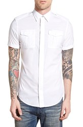 Men's Diesel 'Haul' Extra Trim Fit Short Sleeve Military Shirt White