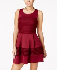 Trixxi Juniors' Eyelet Stripe Fit And Flare Dress Burgundy