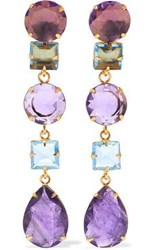 Bounkit Convertible Gold Tone Amethyst And Quartz Earrings Purple