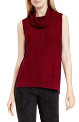 Vince Camuto Women's Two By Sleeveless Cowl Neck Sweater Malbec Red