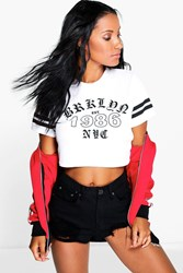 Boohoo Ribbed Crop Slogan Baseball T Shirt White