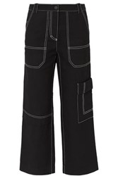 3.1 Phillip Lim Cropped Straight Leg Cotton And Wool Blend Drill Pants Black