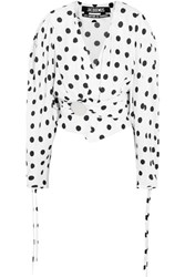 Jacquemus Cropped Gathered Polka Dot Poplin Blouse White