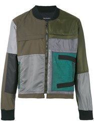Longjourney Patched Bomber Jacket Men Cotton Calf Leather Polyester Xl Green