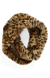 Women's Parkhurst 'Twist' Faux Fur Infinity Scarf Brown Cheetah