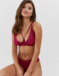 Wolf And Whistle Fuller Bust High Apex Lace Strapping Detail Bra In Burgundy Purple