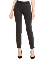 Alfani Faux Leather Trim Tummy Control Pants Only At Macy's Coal Melange