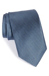 J.Z. Richards Geometric Woven Silk Tie Blue