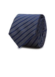 Peckham Rye Navy Striped Silk Jacquard Tie