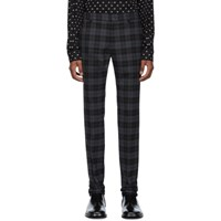 Balenciaga Black And Grey Checked Tailored Trousers