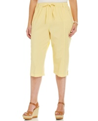 Karen Scott Plus Size Cargo Capri Pants Lemon Twist